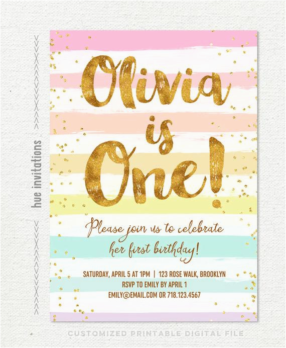 rainbow 1st birthday invitation for girl