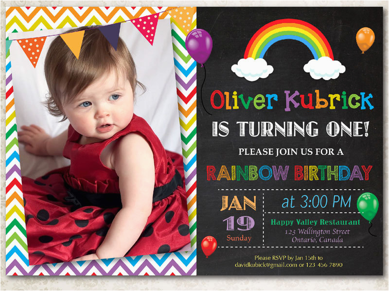 Rainbow First Birthday Invitations Rainbow Birthday Invitation Chevron Chalkboard Boy or Girl