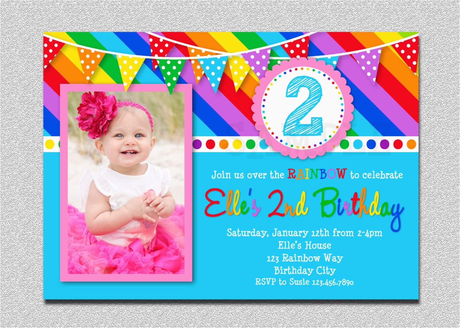 rainbow birthday invitation rainbow