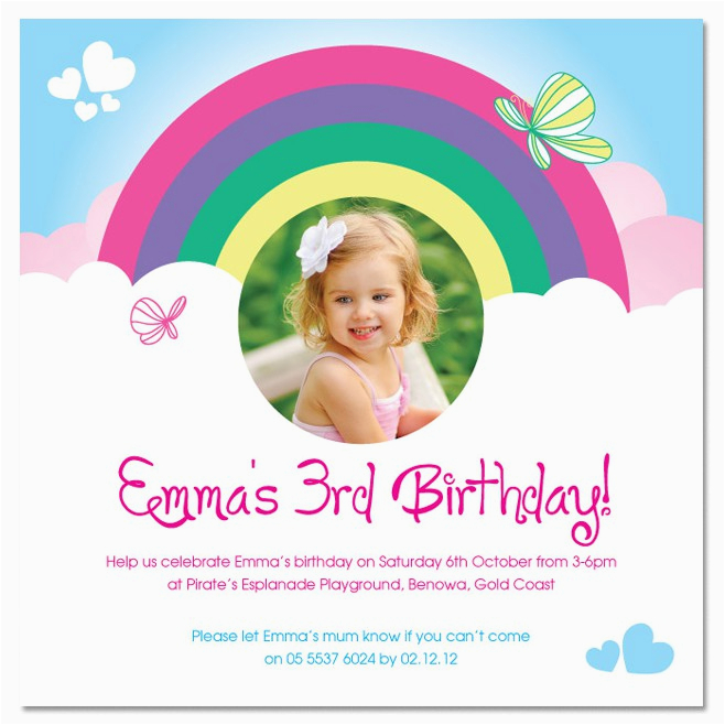 rainbow birthday invitations ideas