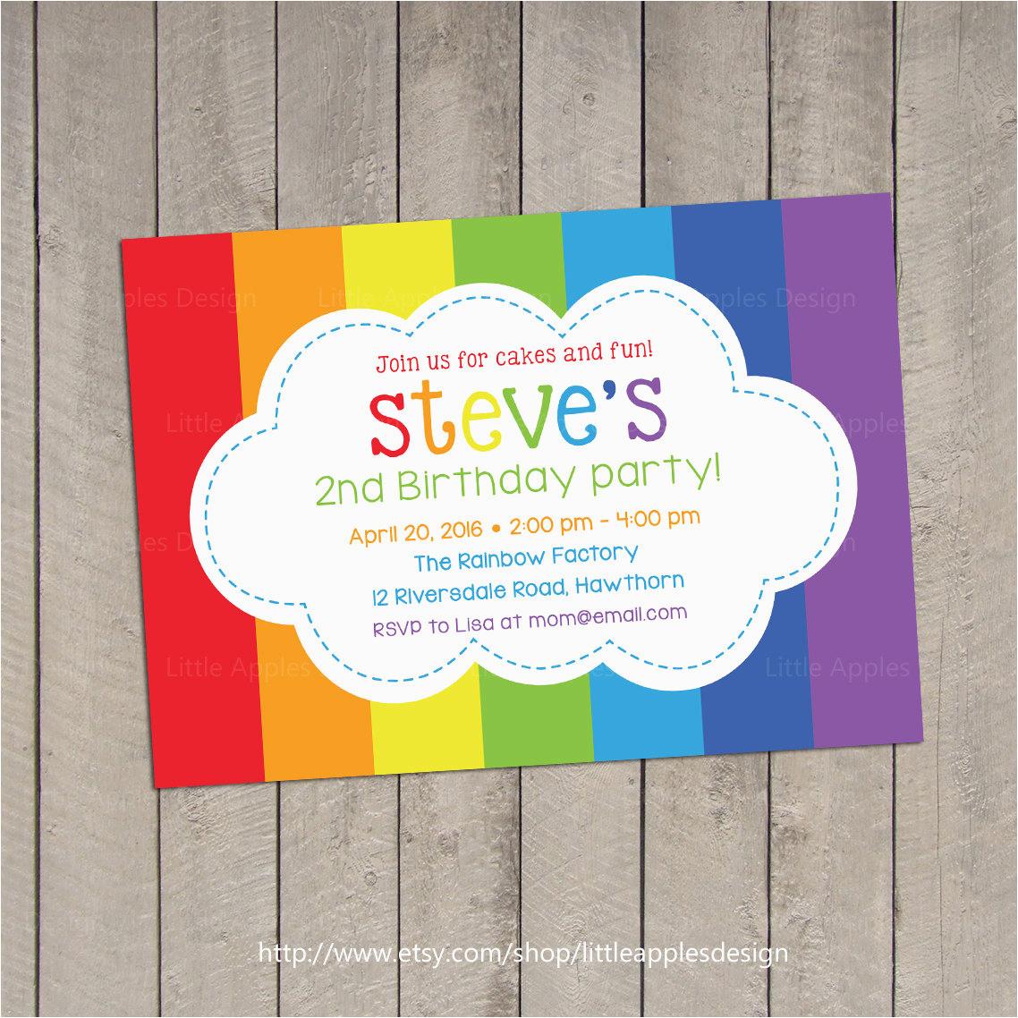 Rainbow Themed Birthday Invitations Birthdaybuzz