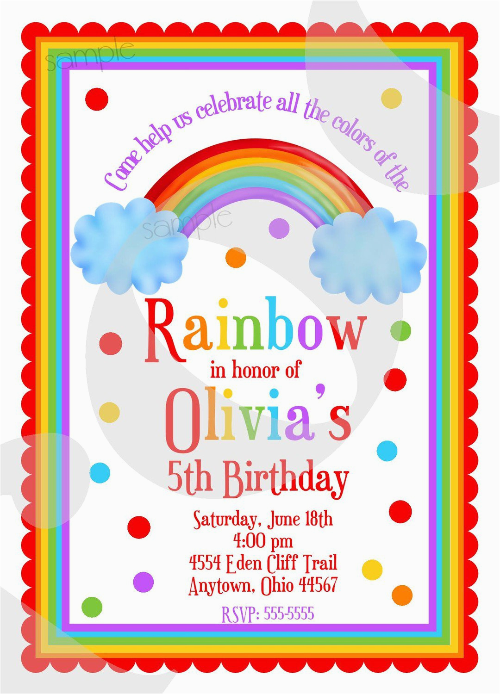 Rainbow Themed Birthday Invitations Best Party Ideas