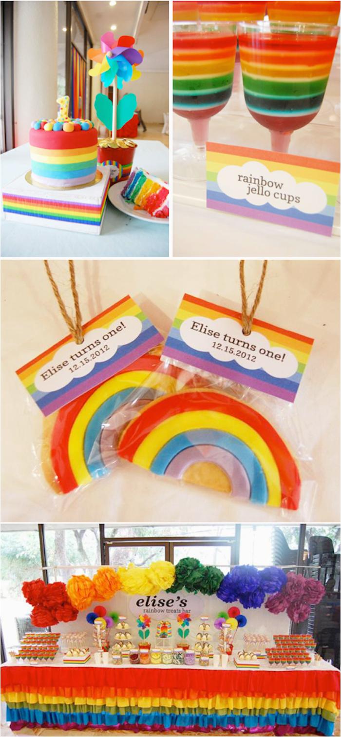 rainbow themed 1st birthday party