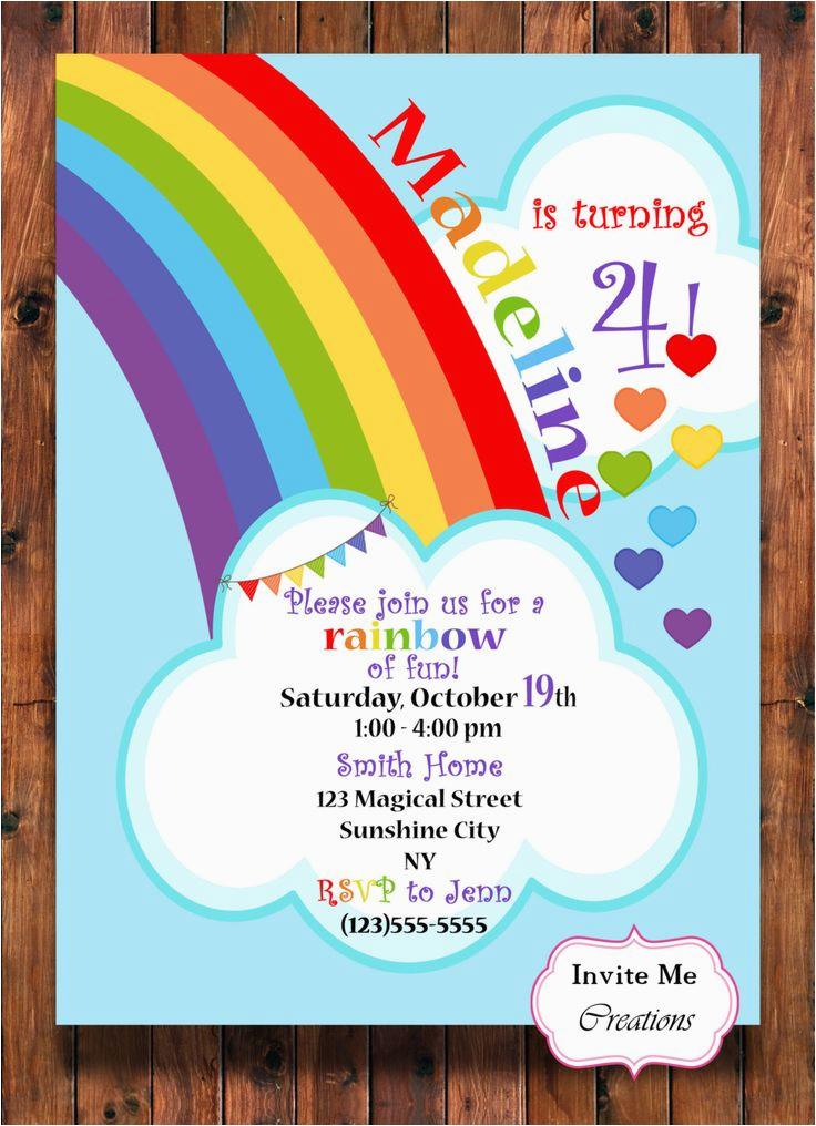 Rainbow themed Birthday Party Invitations Best 25 Rainbow Invitations Ideas On Pinterest Rainbow