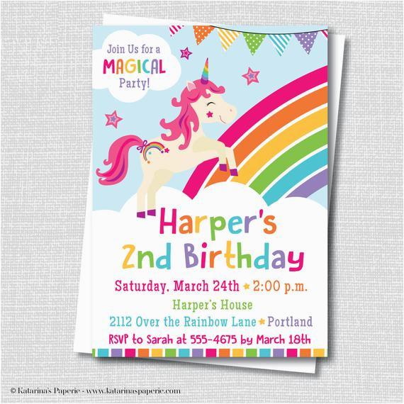 Rainbow Themed Birthday Party Invitations Unicorn Invitation