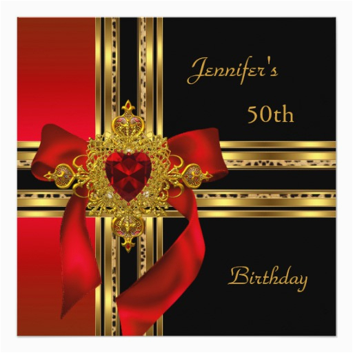 50th birthday party red gold heart jewel card 161446115416904881