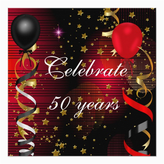 celebrate 50 50th birthday party black red stars card 161113872382024868