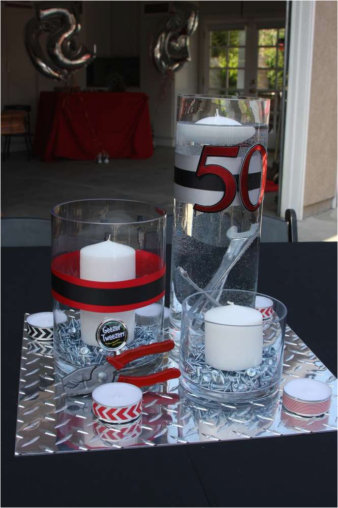 Red And Black 50th Birthday Decorations Party Ideas For Men Tool Theme