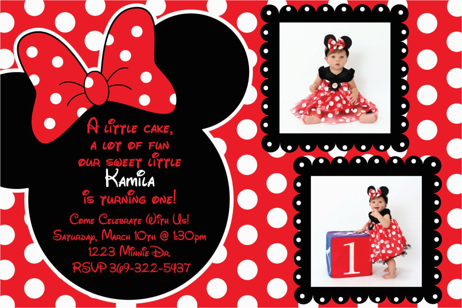Red And Black Minnie Mouse Birthday Invitations Templates Free