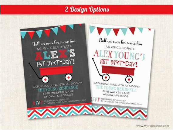 Red Wagon Birthday Invitations Little Red Wagon Birthday Party Invitations First Birthday