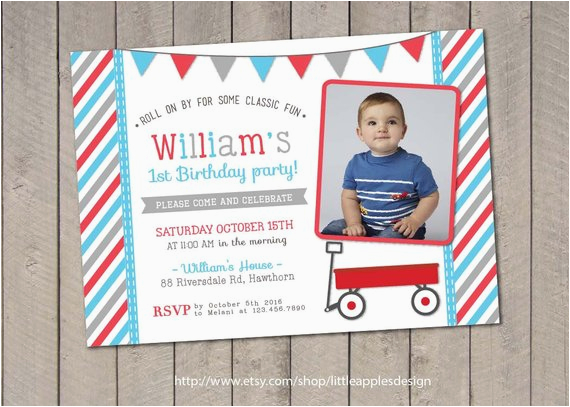 red wagon birthday invitation red wagon