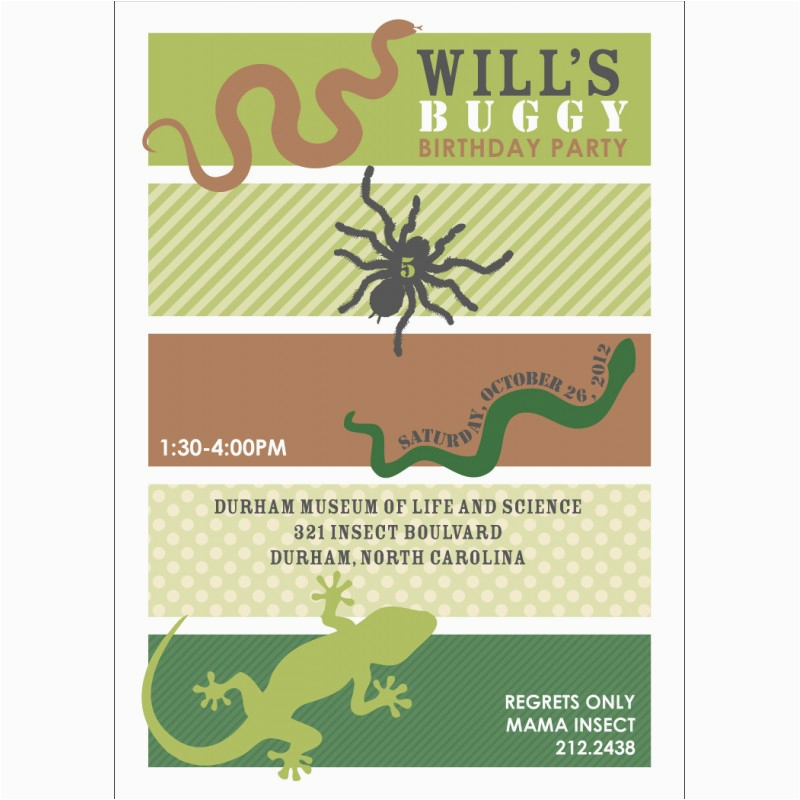 insects bugs reptiles printable party invitation