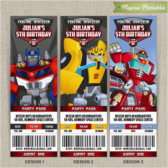 Rescue Bots Birthday Invitations Personalized Transformers Ticket