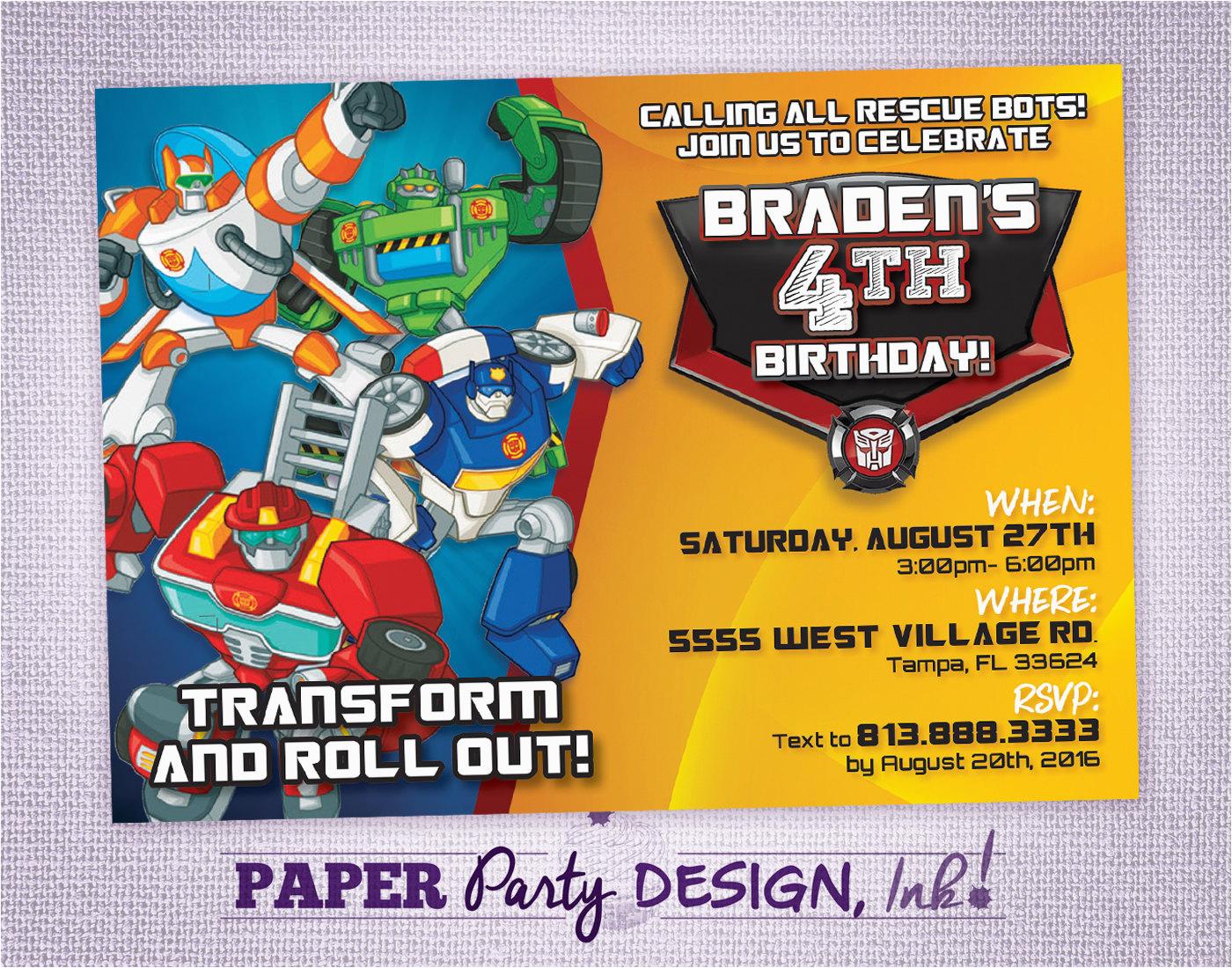 Rescue Bots Birthday Invitations Rescue Bots Birthday Party Invitation Rescue Bots Party