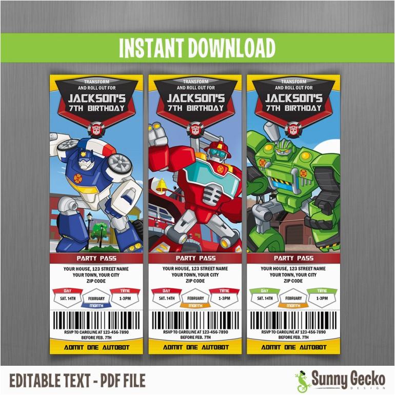 transformers rescue bots ticket invitations