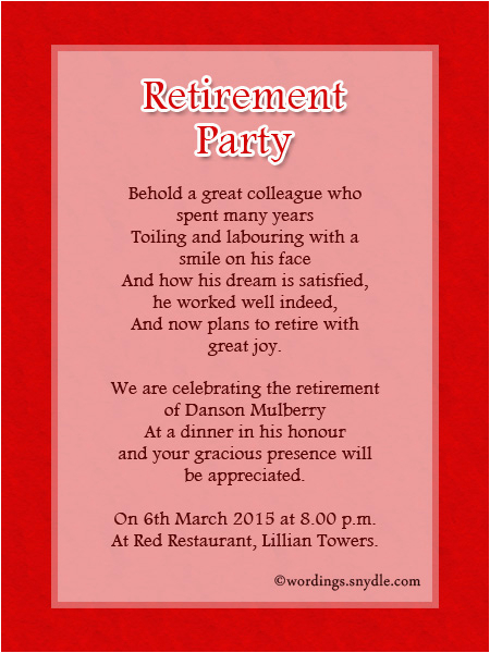 Retirement And Birthday Party Invitation Wording Ideas Samples