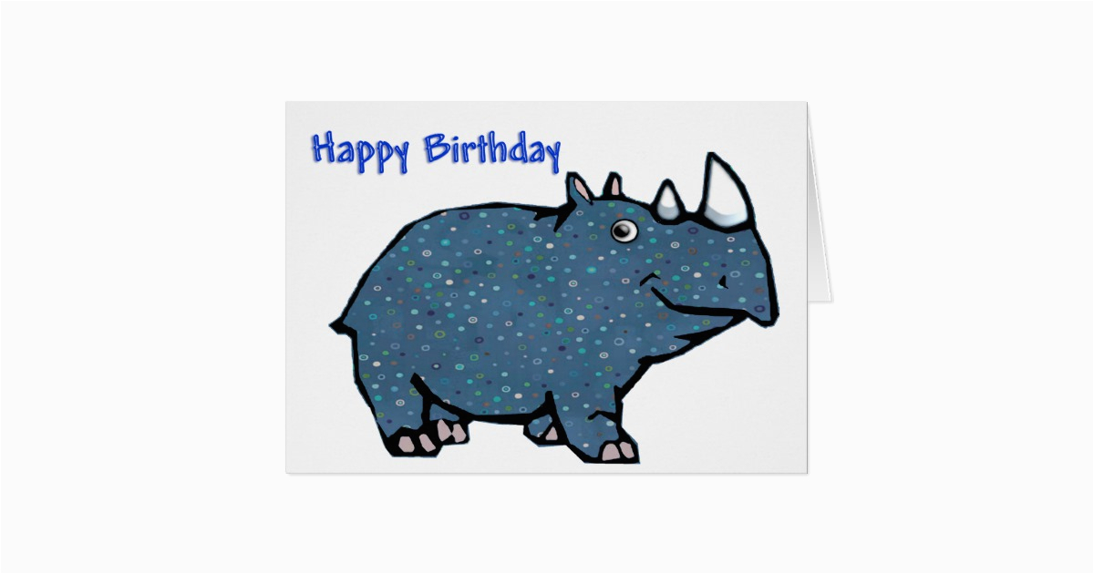 blue rhino happy birthday card zazzle ca