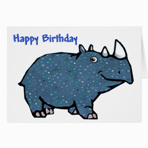 blue rhino happy birthday greeting card zazzle