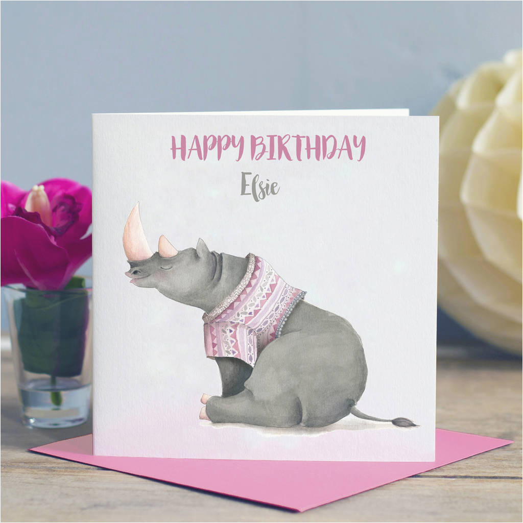 child 39 s rhino birthday card by lisa marie designs