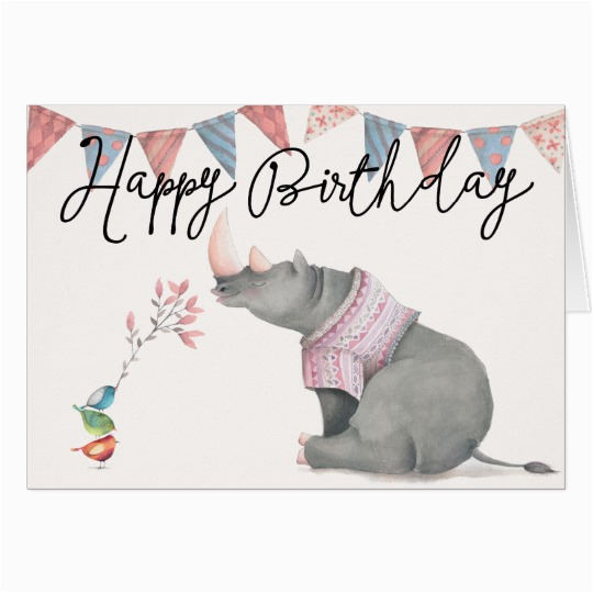 rhinoceros birdies happy birthday greeting card zazzle com