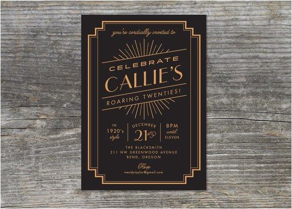 roaring 20s birthday invitation 1920s