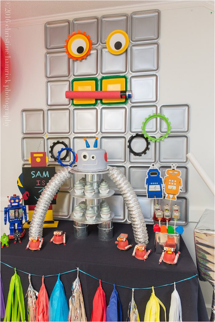 colorful robot birthday party