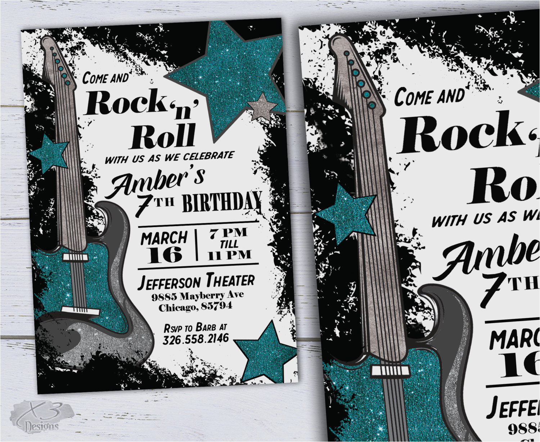 kids printable birthday invitations rock