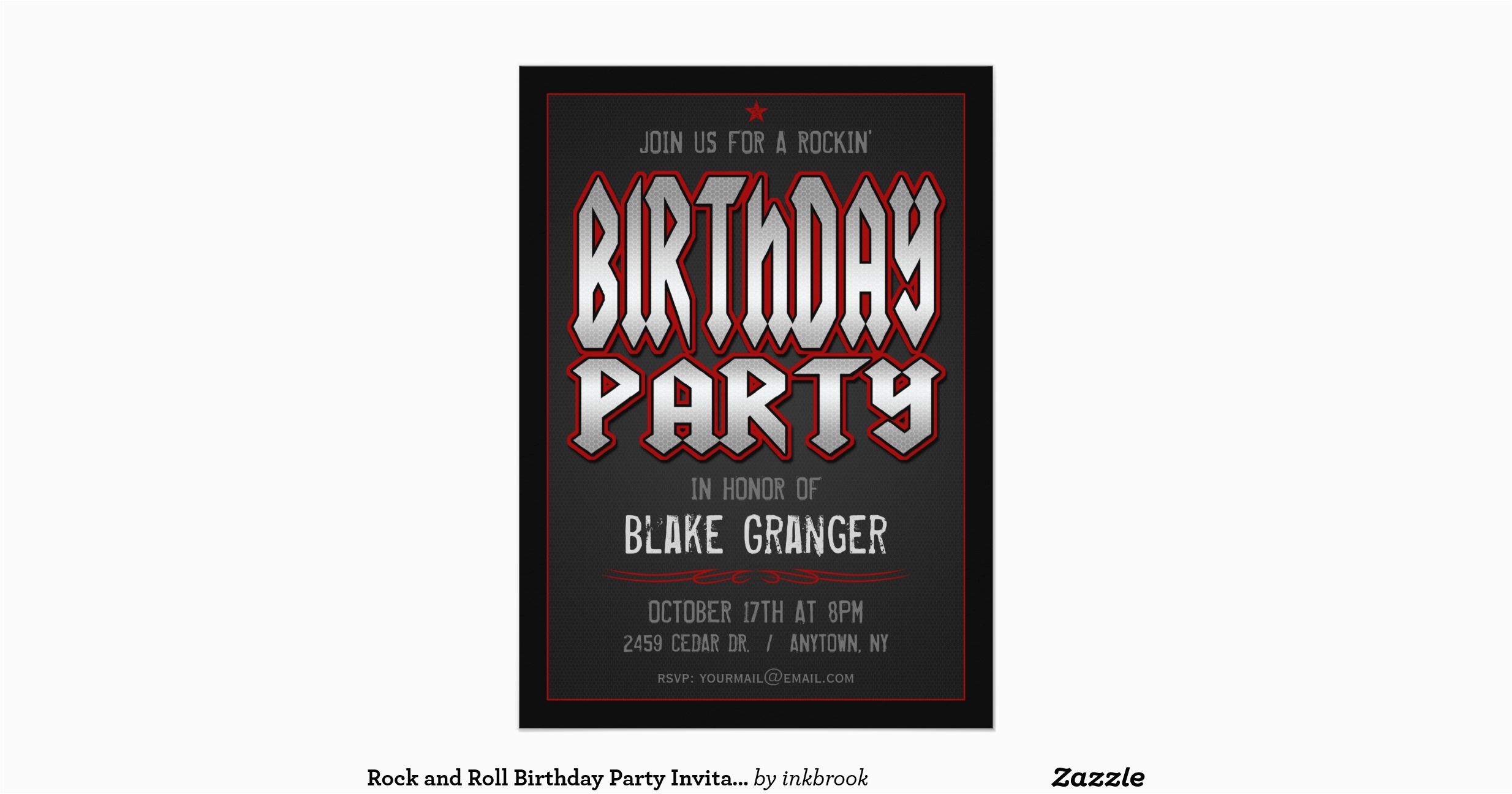 Rock And Roll Birthday Invitations Party Invitation