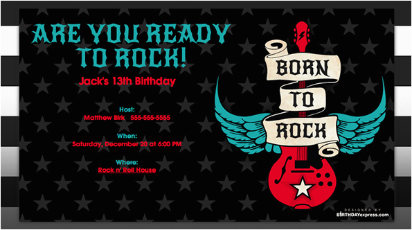 Rock N Roll Birthday Invitations Born To Party Evite