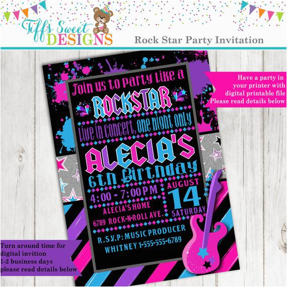 Rock N Roll Birthday Invitations Party Star Girl