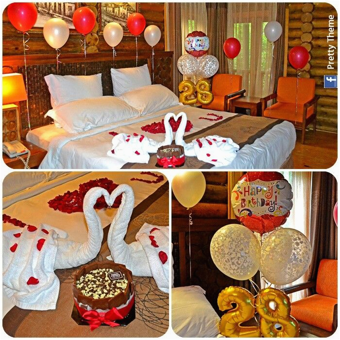 romantic decorated hotel room for his her birthday