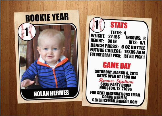 Rookie Of the Year 1st Birthday Invitations 5×7 Rookie Of the Year Vintage Baseball Card First