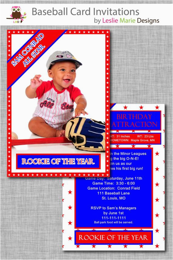 Rookie Of The Year 1st Birthday Invitations Baseball Card Invitation First Boy