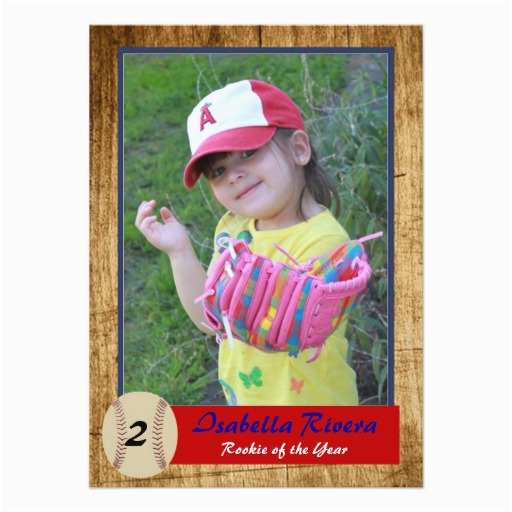 Rookie Of The Year 1st Birthday Invitations Baseball Card Invite Zazzle