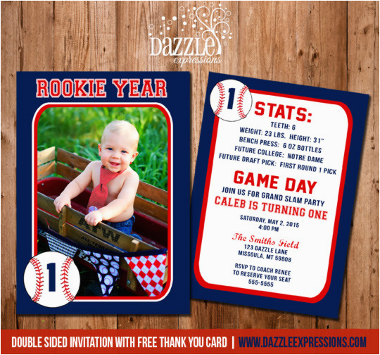 baseball card stats birthday invitation free thank you card included