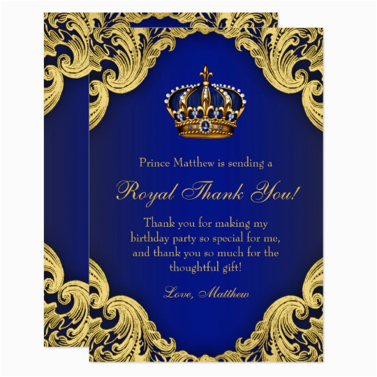 Royal Birthday Invitation Card Prince Party Thank You Cards Zazzle Com