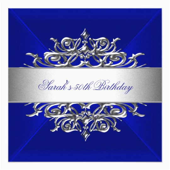 royal blue on silver 50th birthday party card 161807455816248992