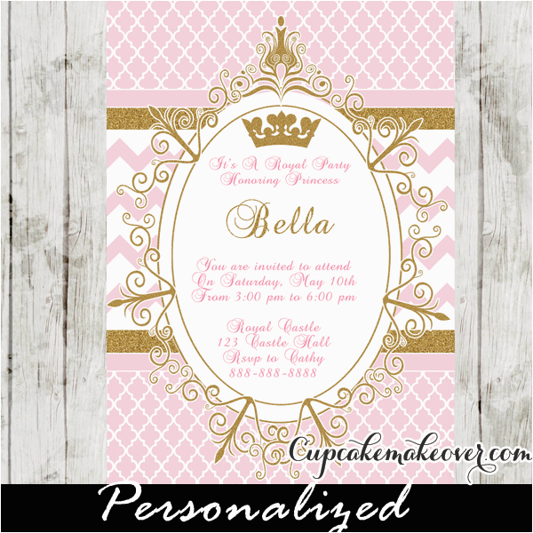 royal princess party invitation pink personalized