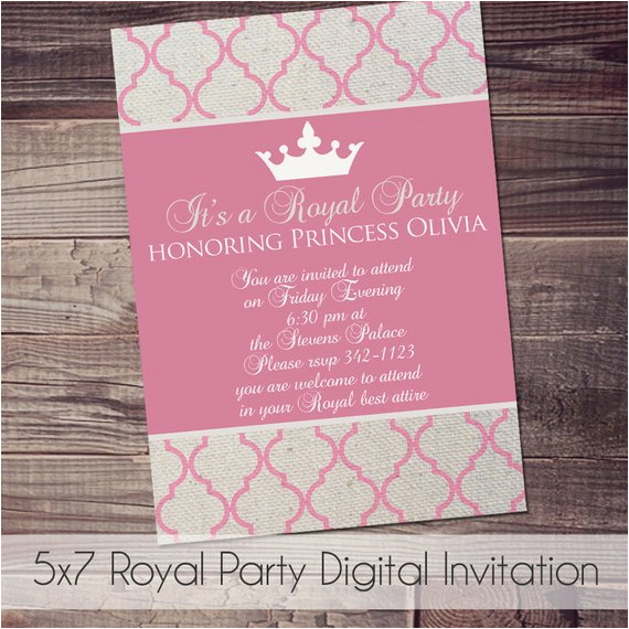 Royal Birthday Party Invitation Wording Customized Quick Ship Color and Wording by Amyssimpledesigns