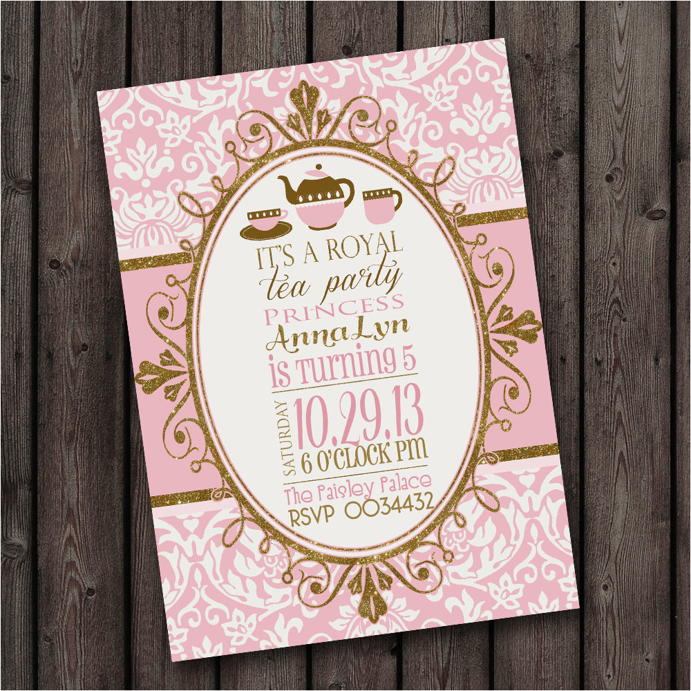customized wording tea party invitation