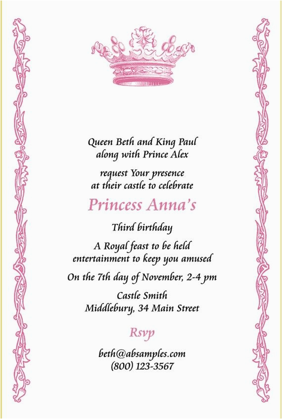 Royal Birthday Party Invitation Wording Good Royal Party Invitation Wording Samples All