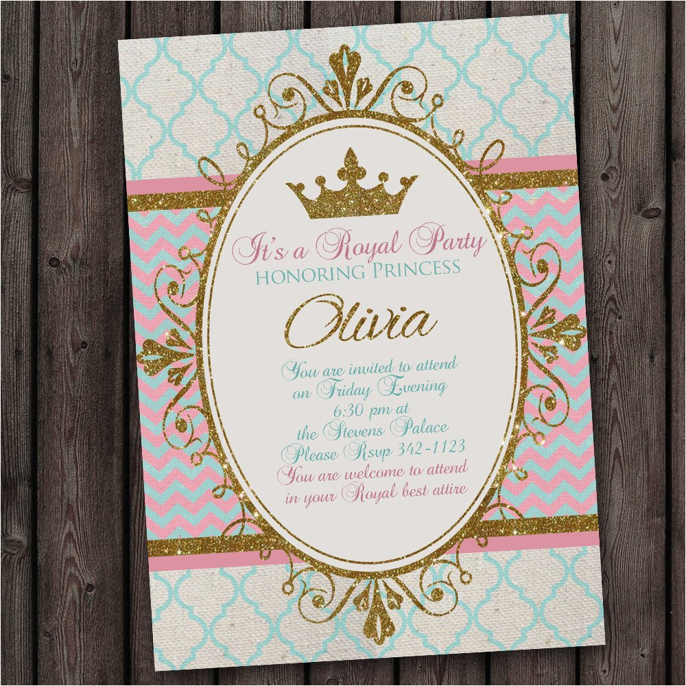 princess invitation royal party gold