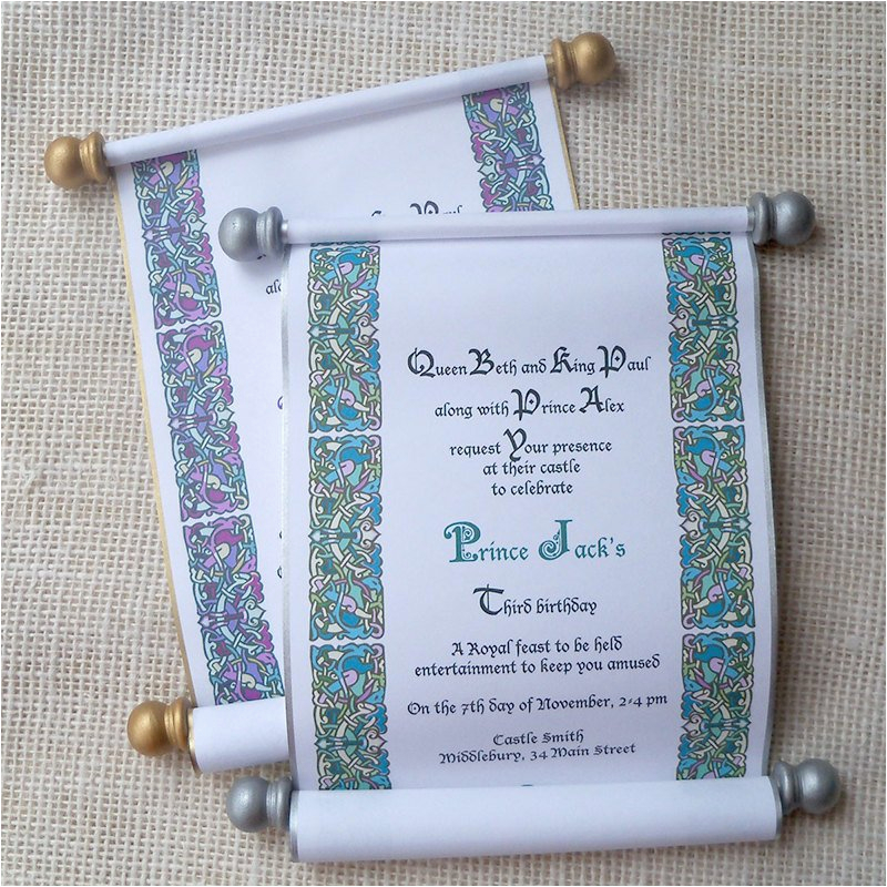 Royal Birthday Party Invitation Wording Royal Birthday Invitation Scroll for Prince or Princess