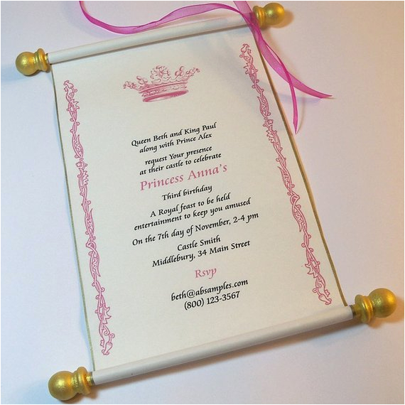 Royal Birthday Party Invitation Wording Royal Birthday Party Scroll Invitation Set by Artfulbeginnings