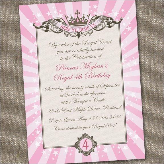 Royal Birthday Party Invitation Wording Royal Princess Tiara Printable Birthday Invitation