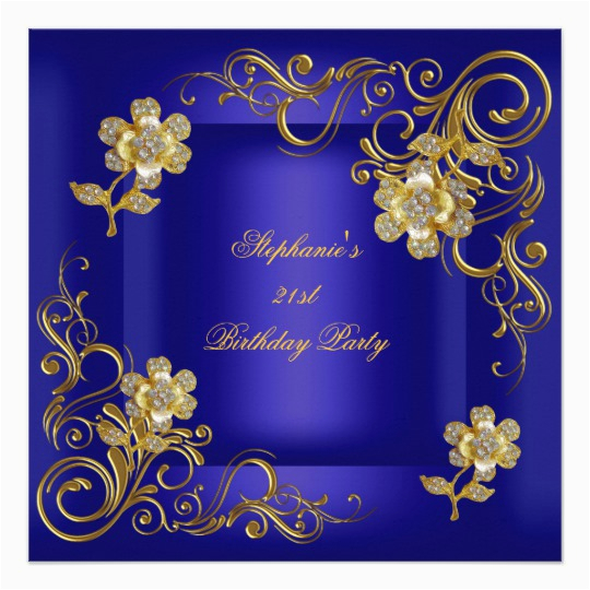 21st birthday party royal blue gold diamond card 161744911076149461