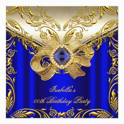 elegant elite royal blue gold birthday party 2 invitation 161859215786220158
