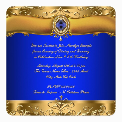 royal blue and gold party invitation 161341968612477101