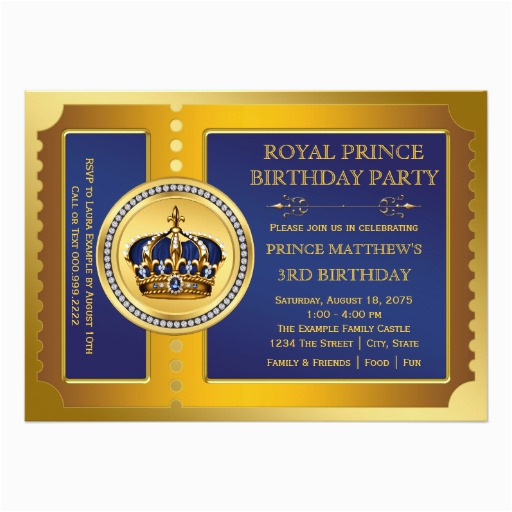 royal blue and gold prince birthday party invitation 161068468646091229