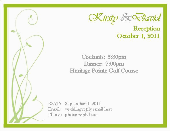 samples of rsvp cards